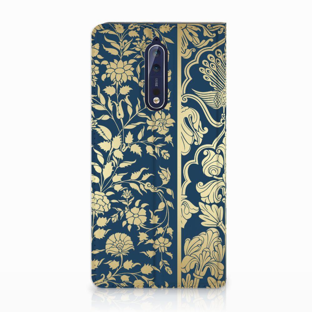 Nokia 8 Standcase Hoesje Golden Flowers