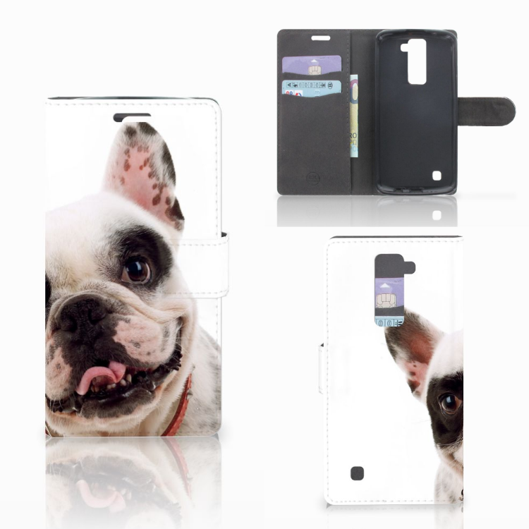 LG K10 2015 Telefoonhoesje met Pasjes Franse Bulldog