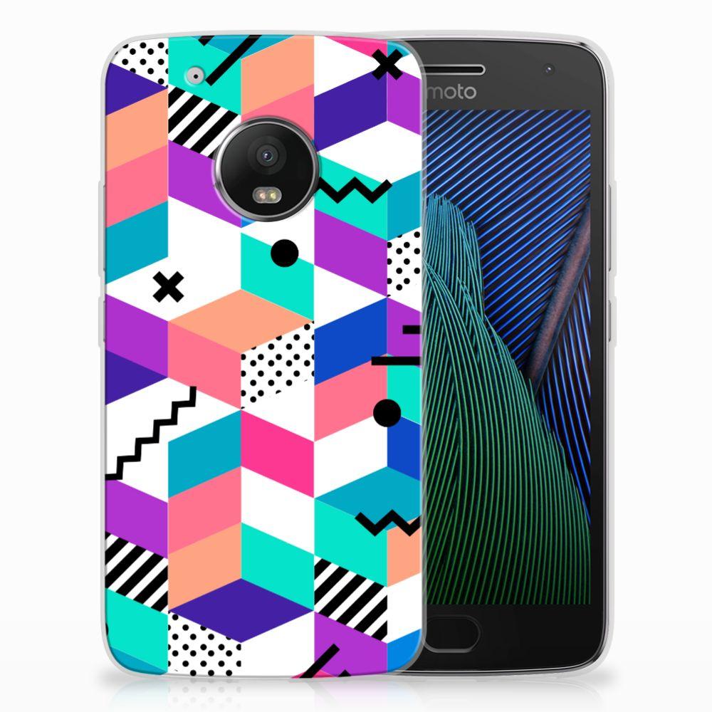 Motorola Moto G5 Plus TPU Hoesje Blokken Kleurrijk