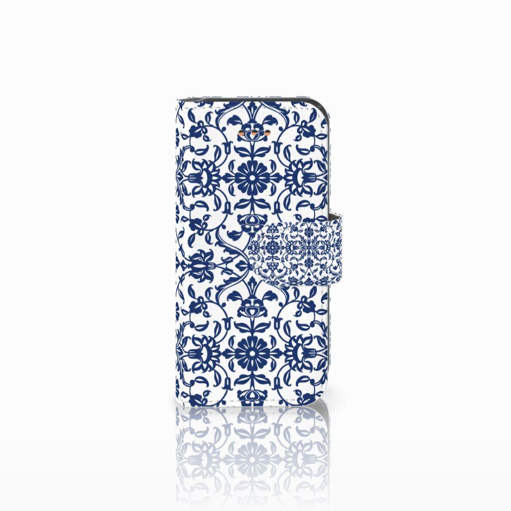 Apple iPhone 5C Uniek Boekhoesje Flower Blue