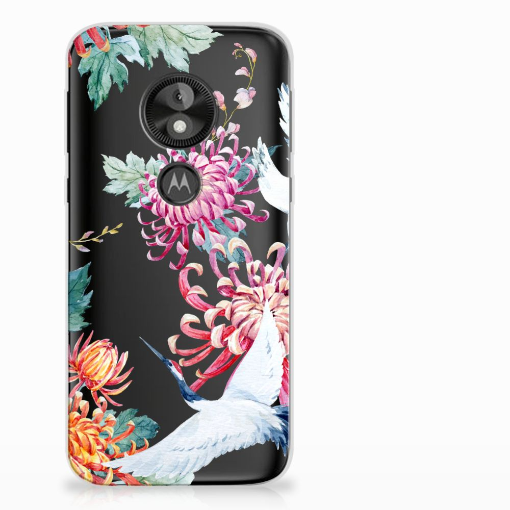 Motorola Moto E5 Play Uniek TPU Hoesje Bird Flowers