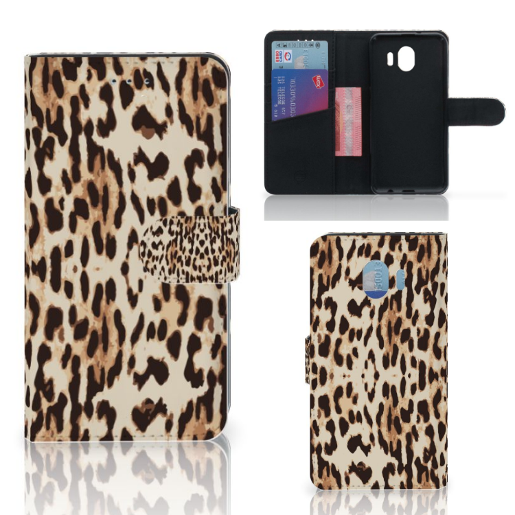 Samsung Galaxy J4 2018 Telefoonhoesje met Pasjes Leopard