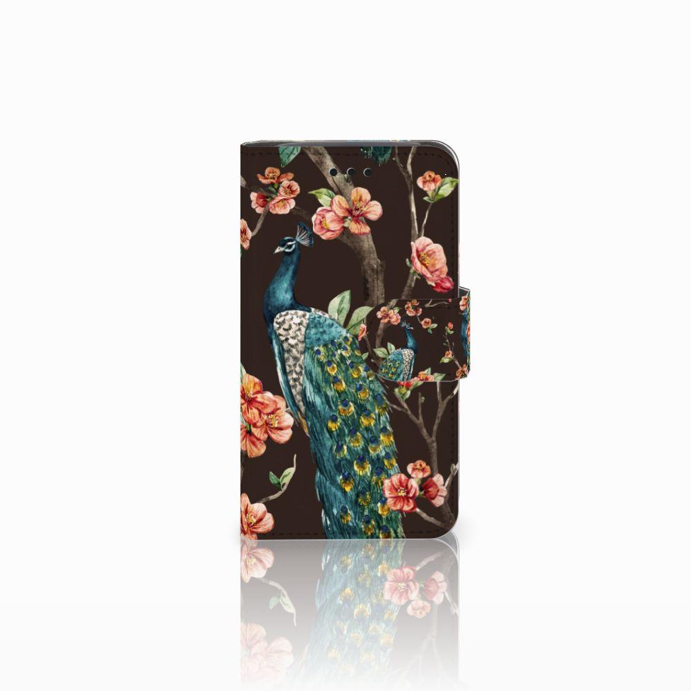 Samsung Galaxy Core i8260 Boekhoesje Design Pauw met Bloemen
