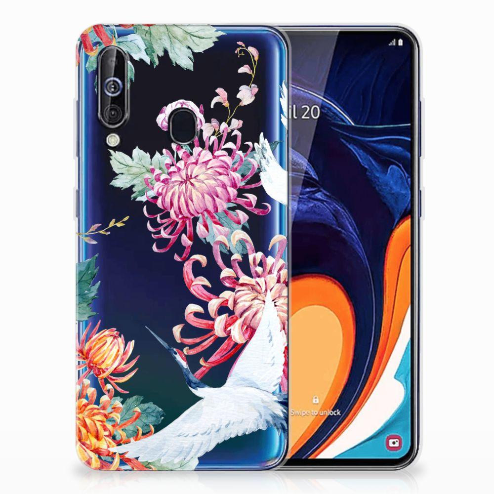 Samsung Galaxy A60 TPU Hoesje Bird Flowers