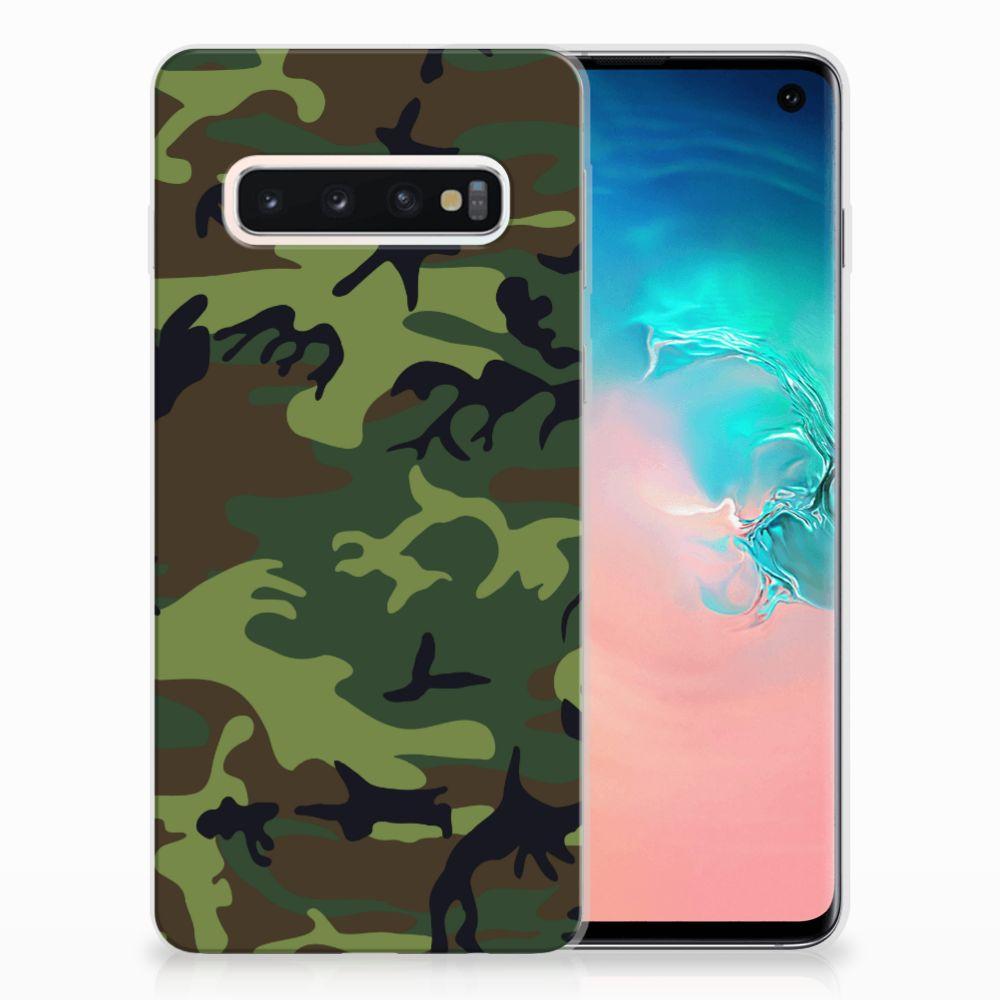Samsung Galaxy S10 TPU Hoesje Design Army Dark