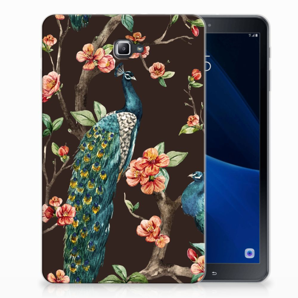 Samsung Galaxy Tab A 10.1 Tablethoesje Design Pauw met Bloemen
