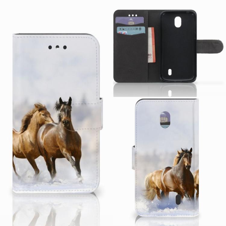 Nokia 1 Telefoonhoesje met Pasjes Paarden
