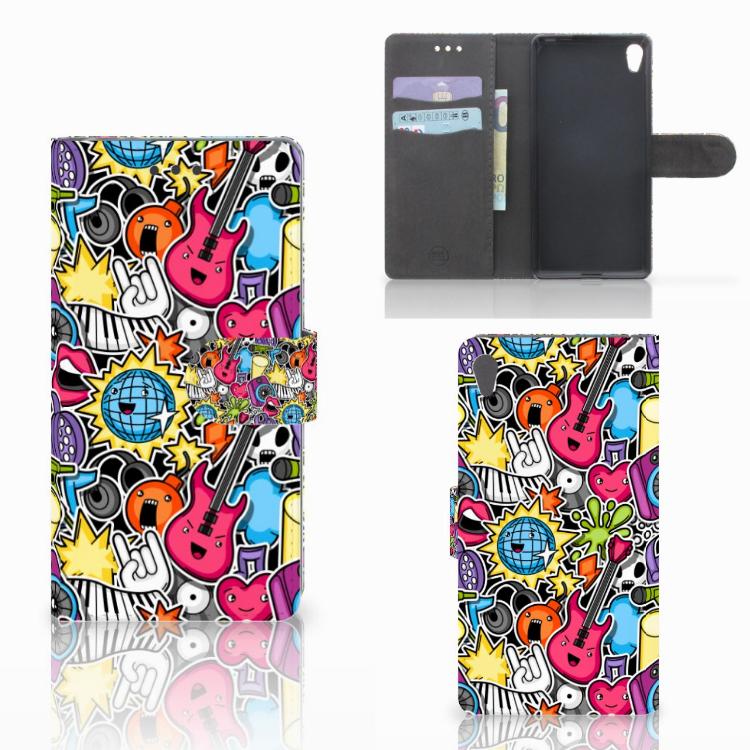 Sony Xperia E5 Wallet Case met Pasjes Punk Rock