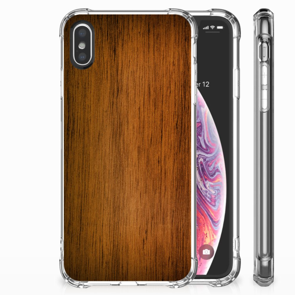 Apple iPhone X | Xs Uniek TPU Hoesje Donker Hout