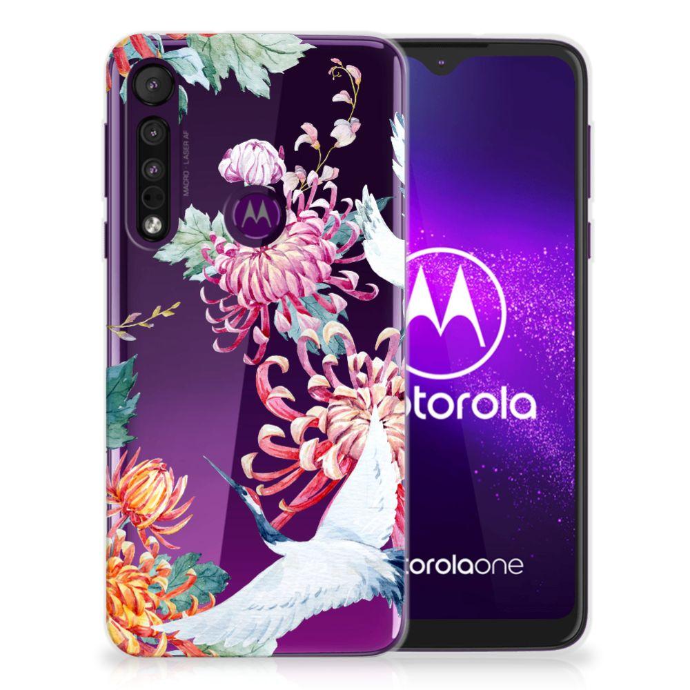 Motorola One Macro TPU Hoesje Bird Flowers