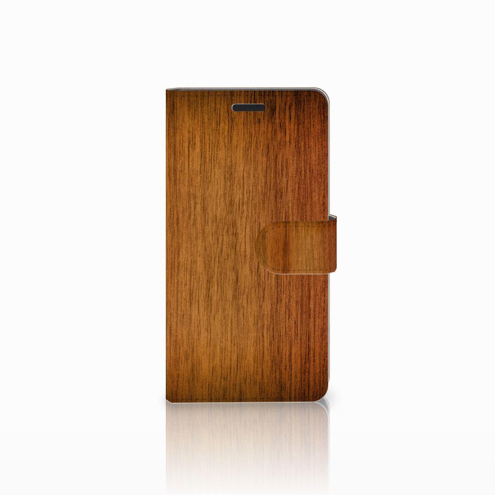 Samsung Galaxy A7 2015 Uniek Boekhoesje Donker Hout
