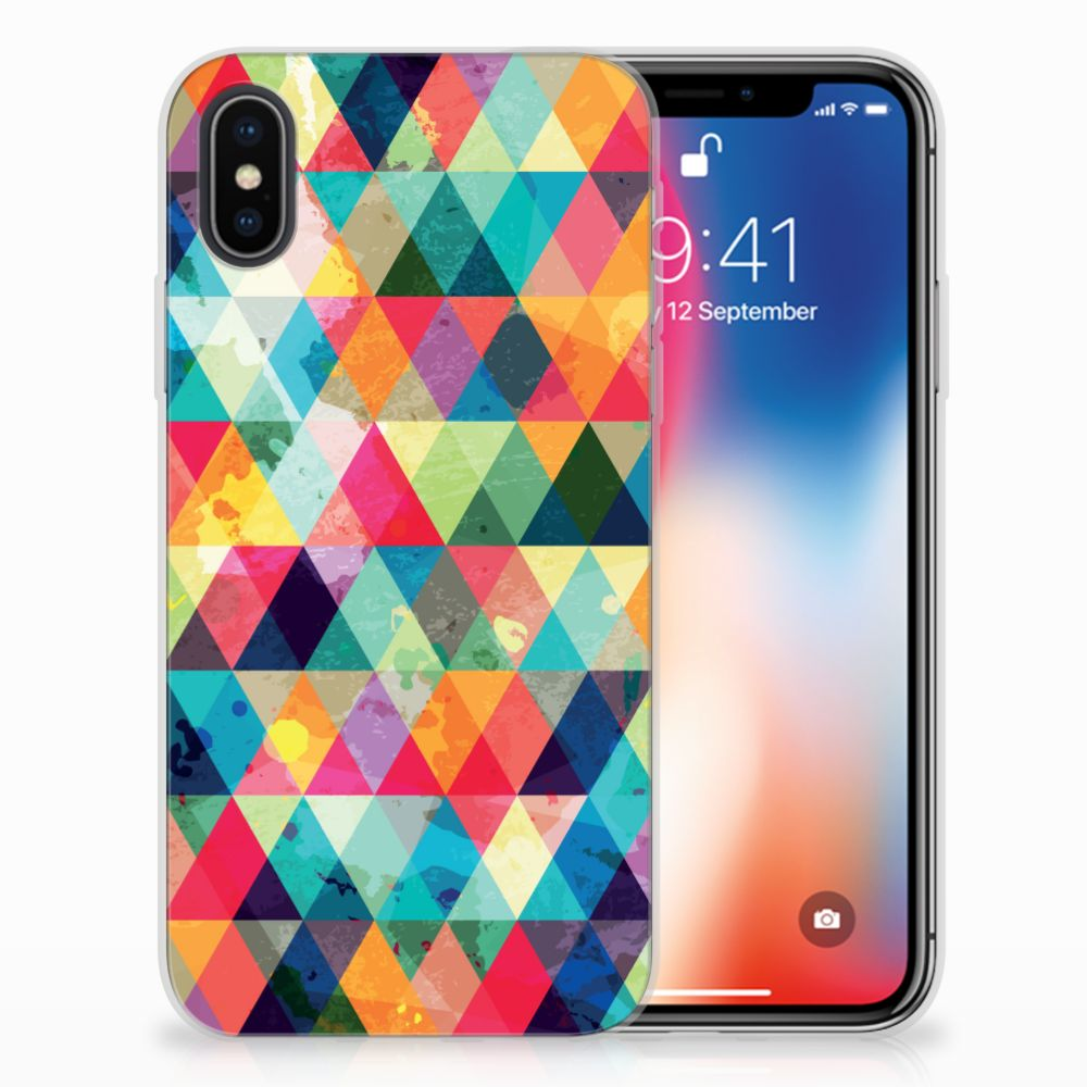 Apple iPhone X | Xs Uniek TPU Hoesje Geruit