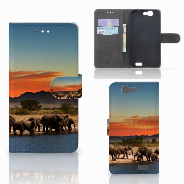 Huawei Ascend G7 Telefoonhoesje met Pasjes Olifanten