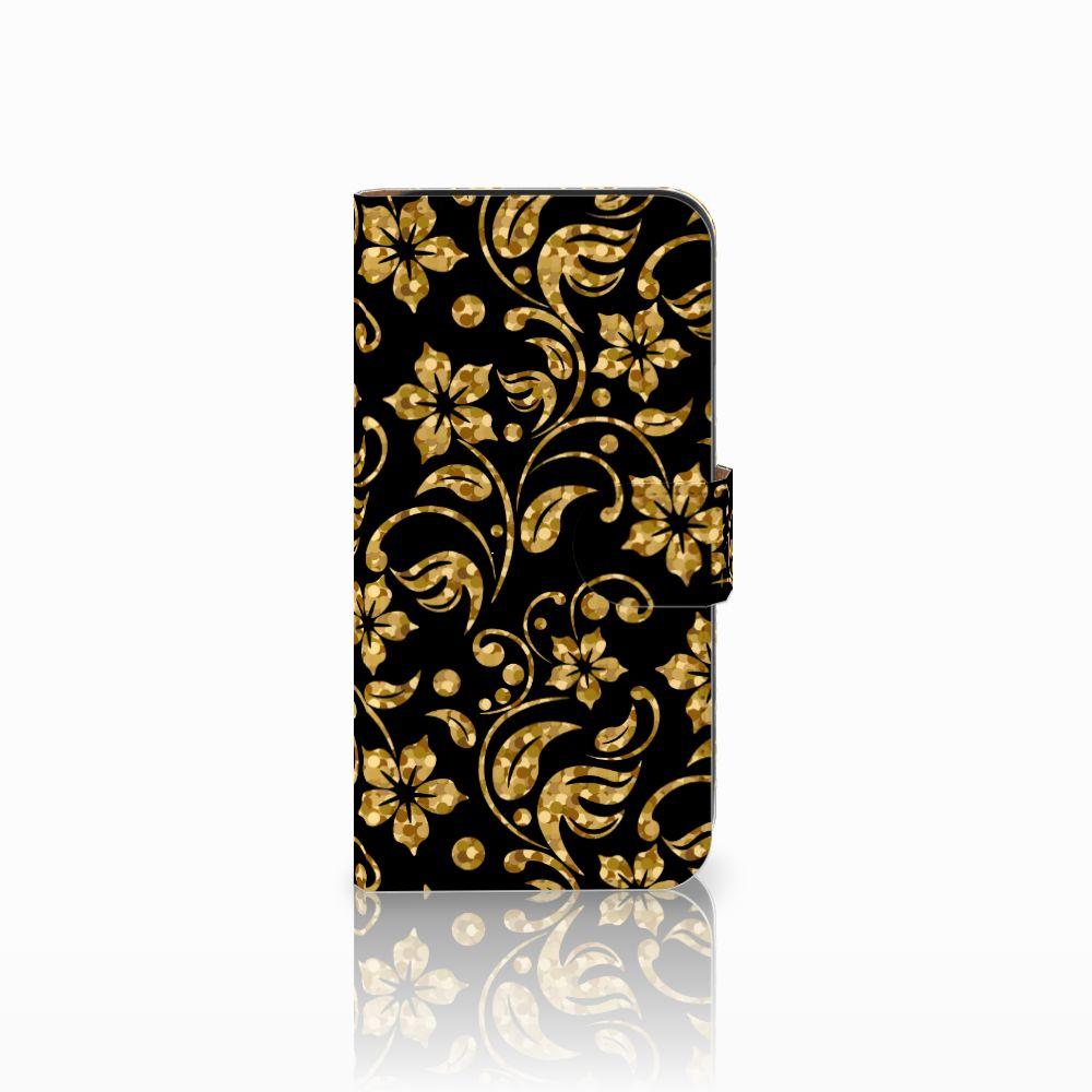 Samsung Galaxy E5 Boekhoesje Design Gouden Bloemen