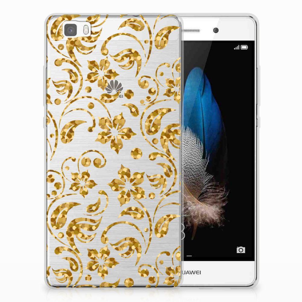 Huawei Ascend P8 Lite TPU Hoesje Design Gouden Bloemen