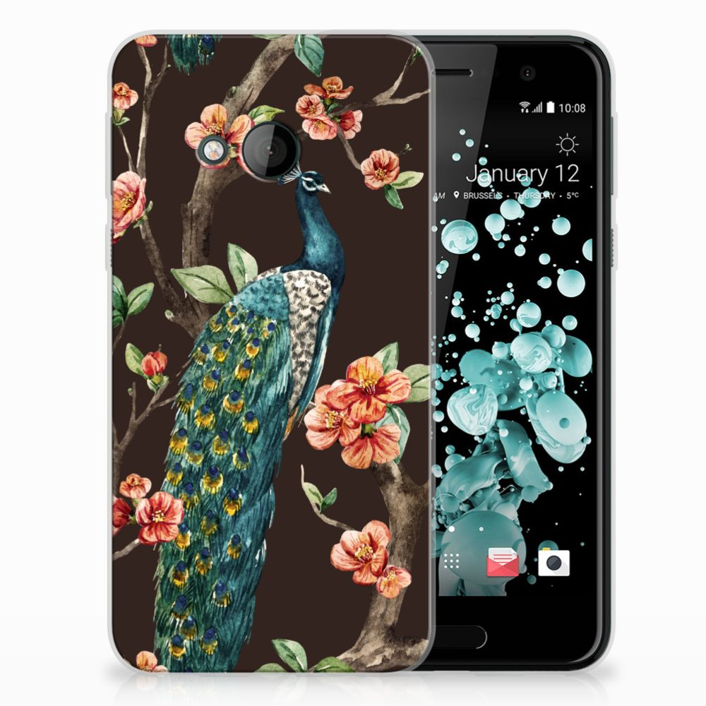 HTC U Play TPU Hoesje Pauw met Bloemen