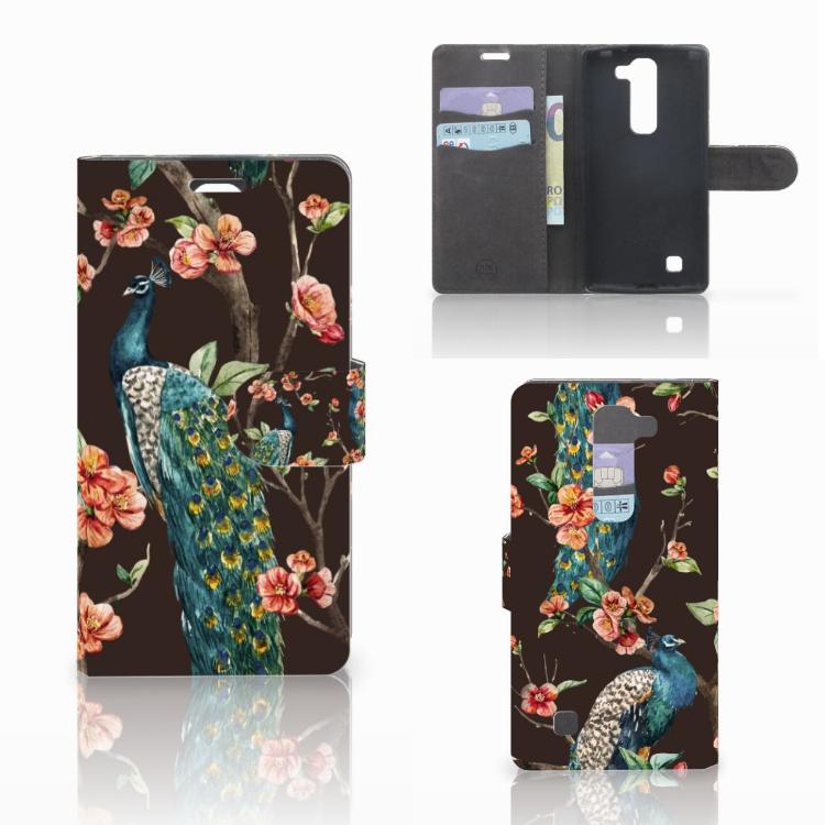 LG Magna | G4C Telefoonhoesje met Pasjes Pauw met Bloemen