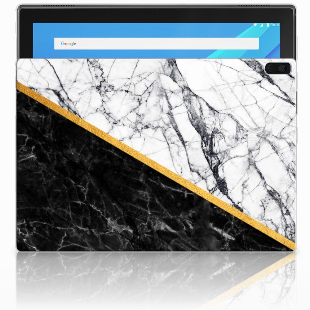 Lenovo Tab 4 10.1 Tablet Back Cover Marmer Wit Zwart