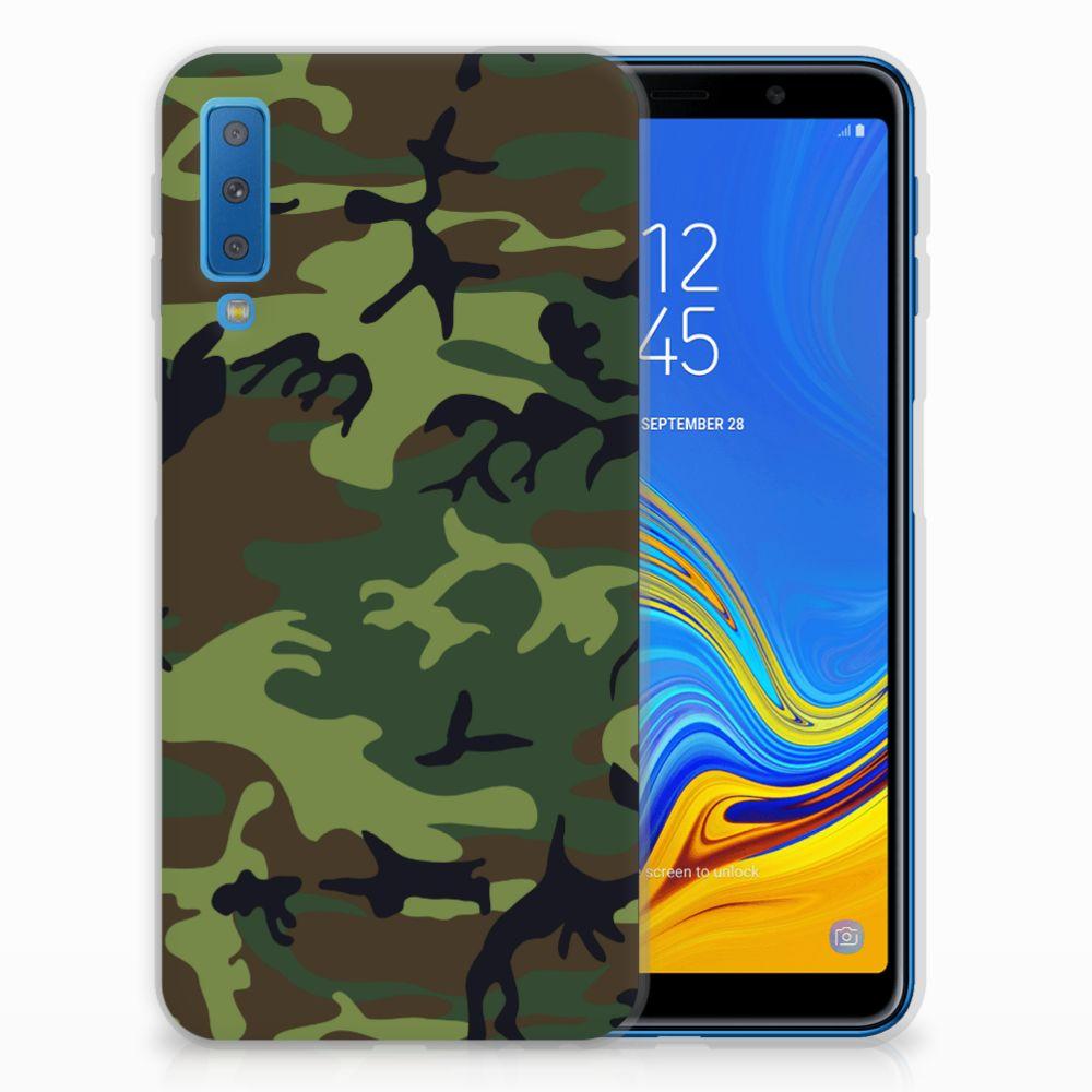 Samsung Galaxy A7 (2018) TPU Hoesje Design Army Dark