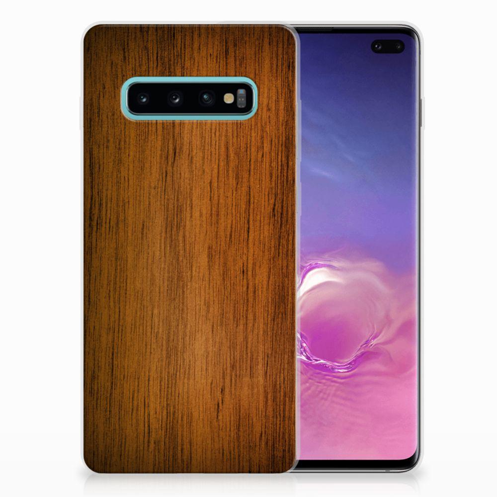 Samsung Galaxy S10 Plus Uniek TPU Hoesje Donker Hout