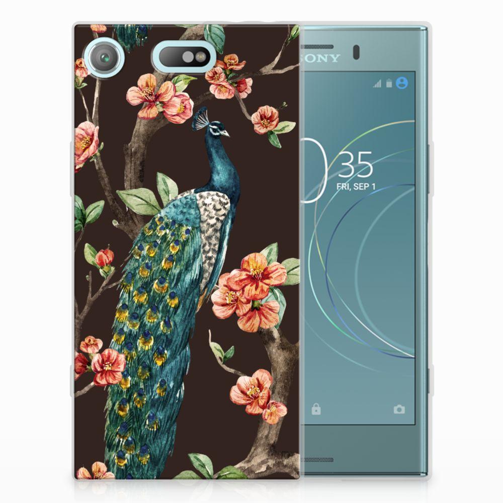 Sony Xperia XZ1 Compact TPU Hoesje Design Pauw met Bloemen