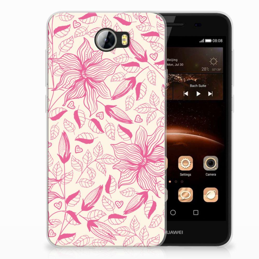 Huawai Y5 II | Y6 II Compact Uniek TPU Hoesje Pink Flowers