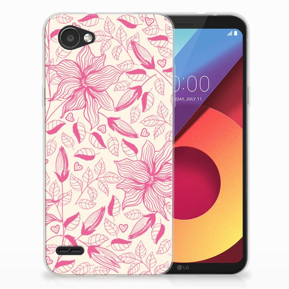 LG Q6 | LG Q6 Plus Uniek TPU Hoesje Pink Flowers