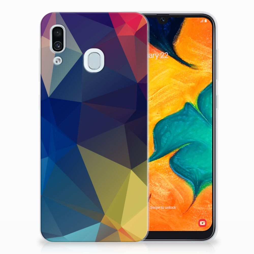 Samsung Galaxy A30 TPU Hoesje Polygon Dark