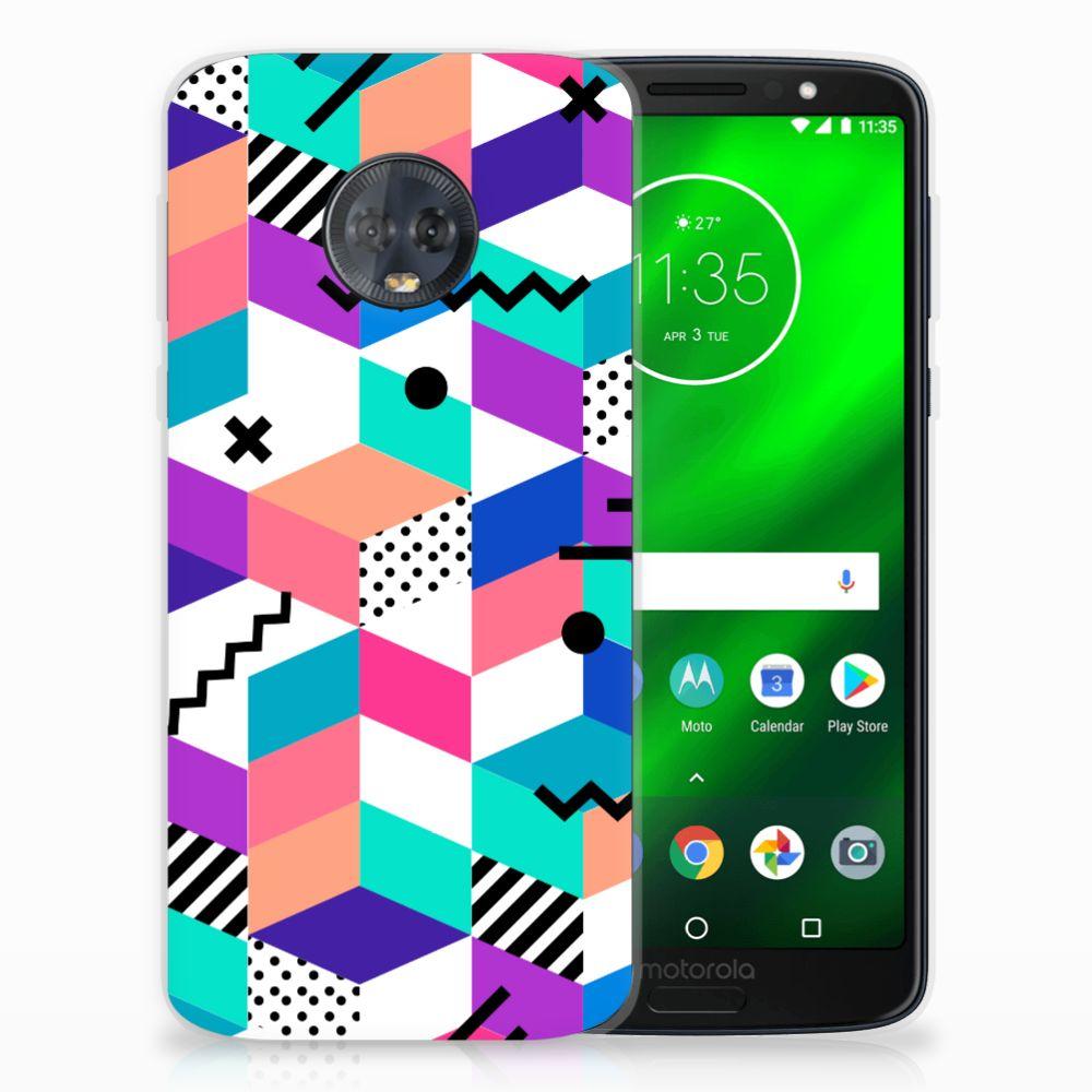 Motorola Moto G6 Plus TPU Hoesje Blokken Kleurrijk