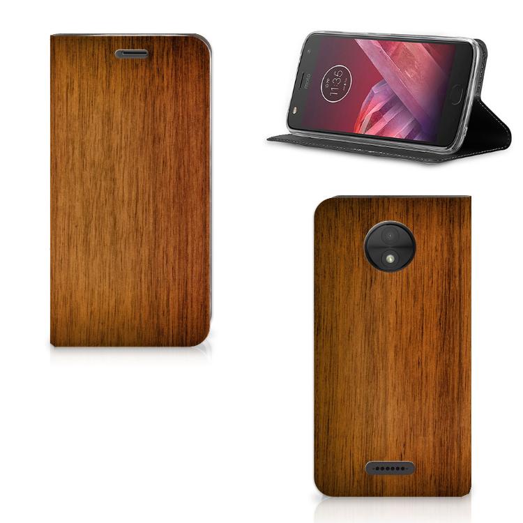 Motorola Moto C Book Wallet Case Donker Hout