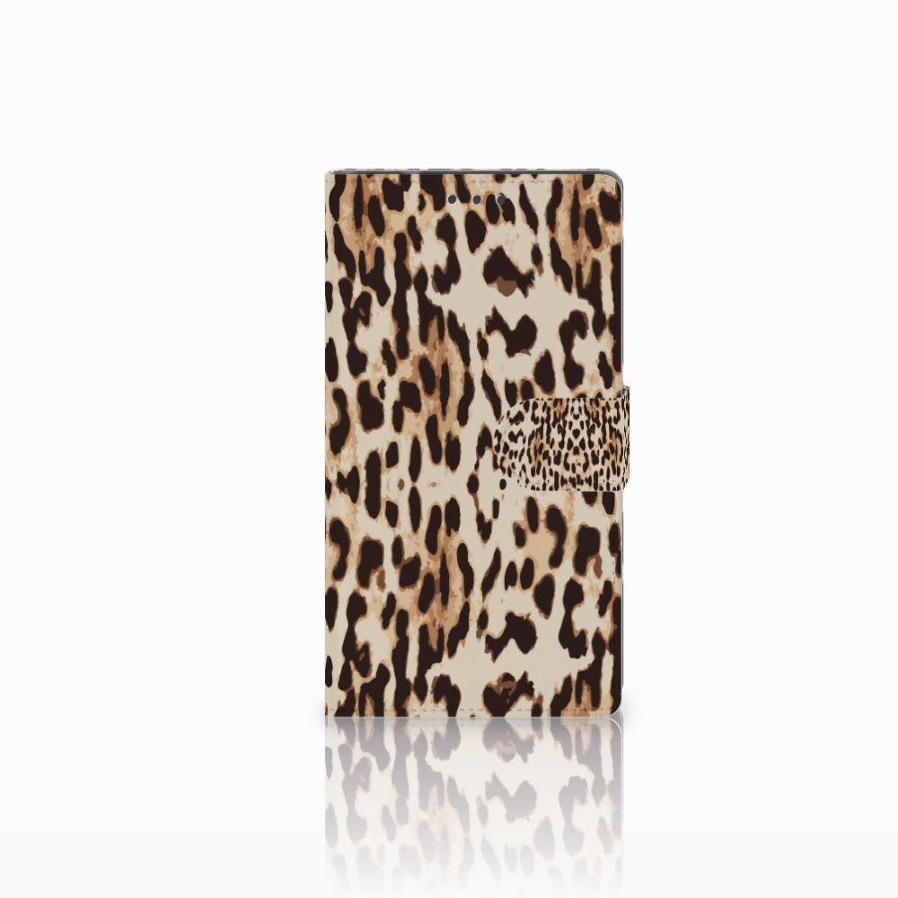Samsung Galaxy Note 4 Telefoonhoesje met Pasjes Leopard