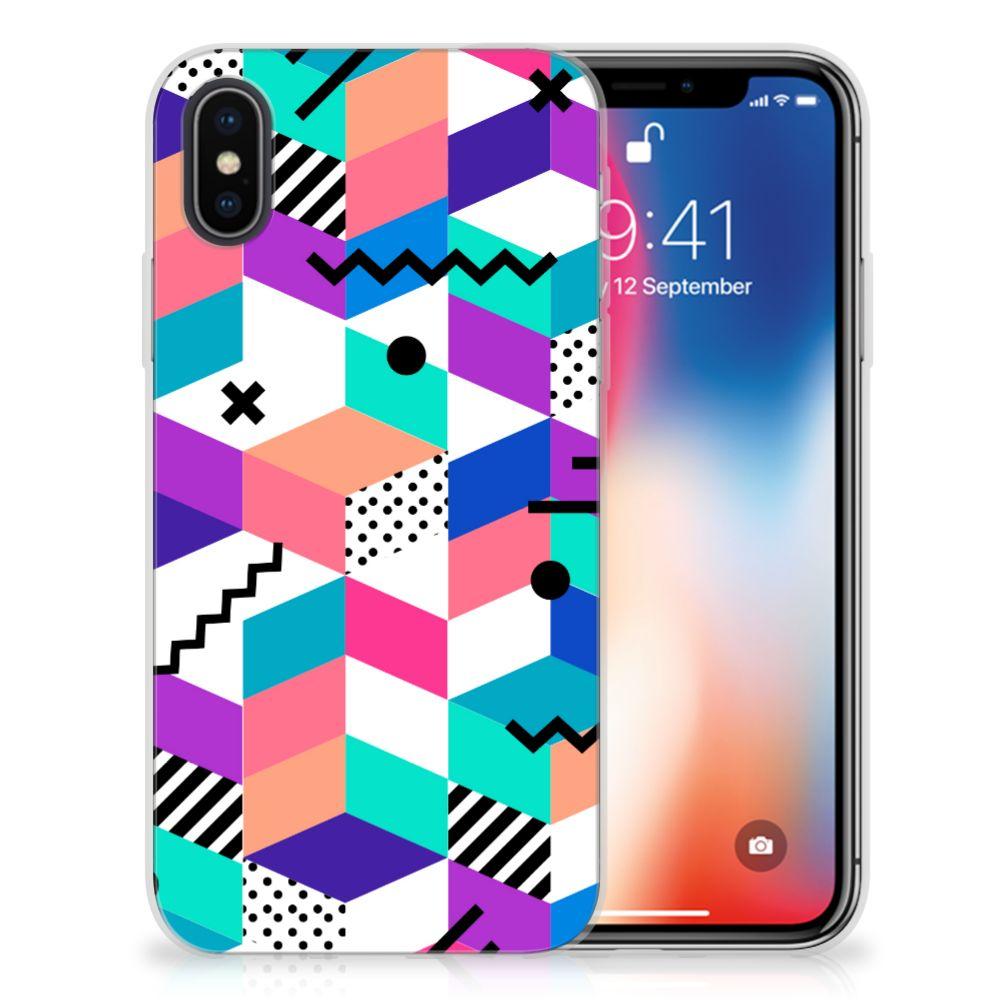 Apple iPhone X | Xs TPU Hoesje Blokken Kleurrijk