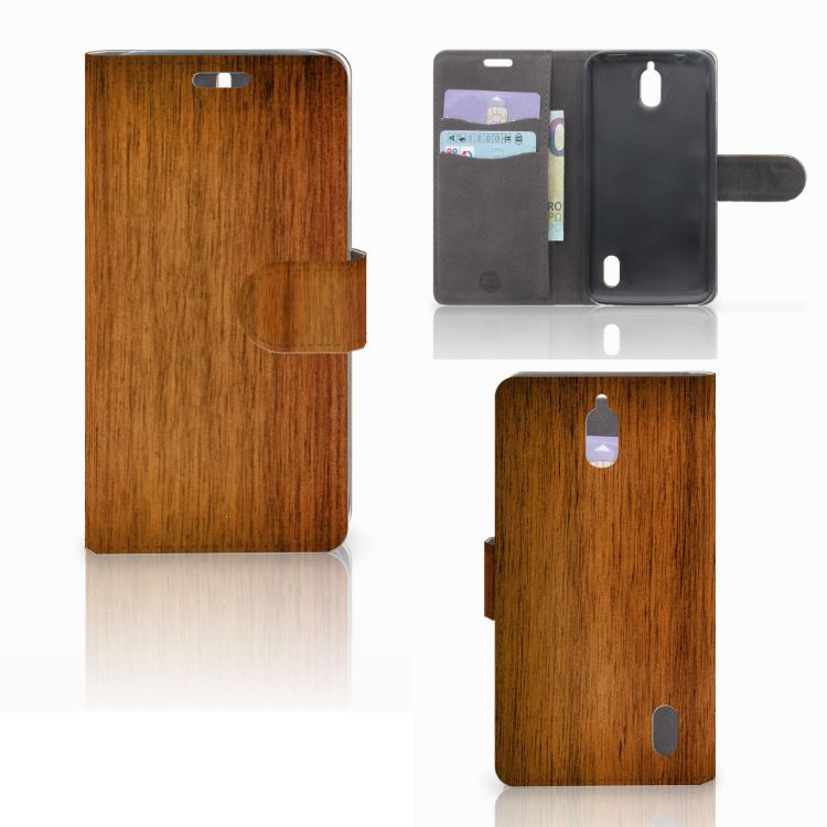 Huawei Y625 Book Style Case Donker Hout
