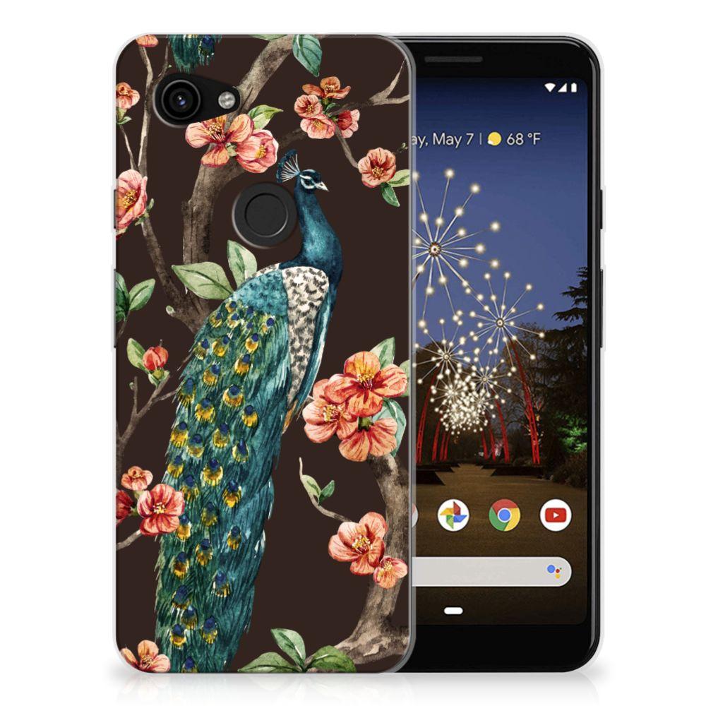 Google Pixel 3A TPU Hoesje Pauw met Bloemen