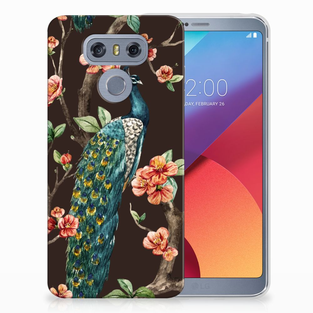 LG G6 TPU Hoesje Design Pauw met Bloemen
