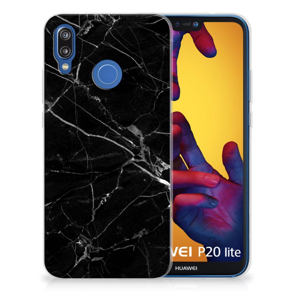 Huawei P20 Lite TPU Siliconen Hoesje Marmer Zwart