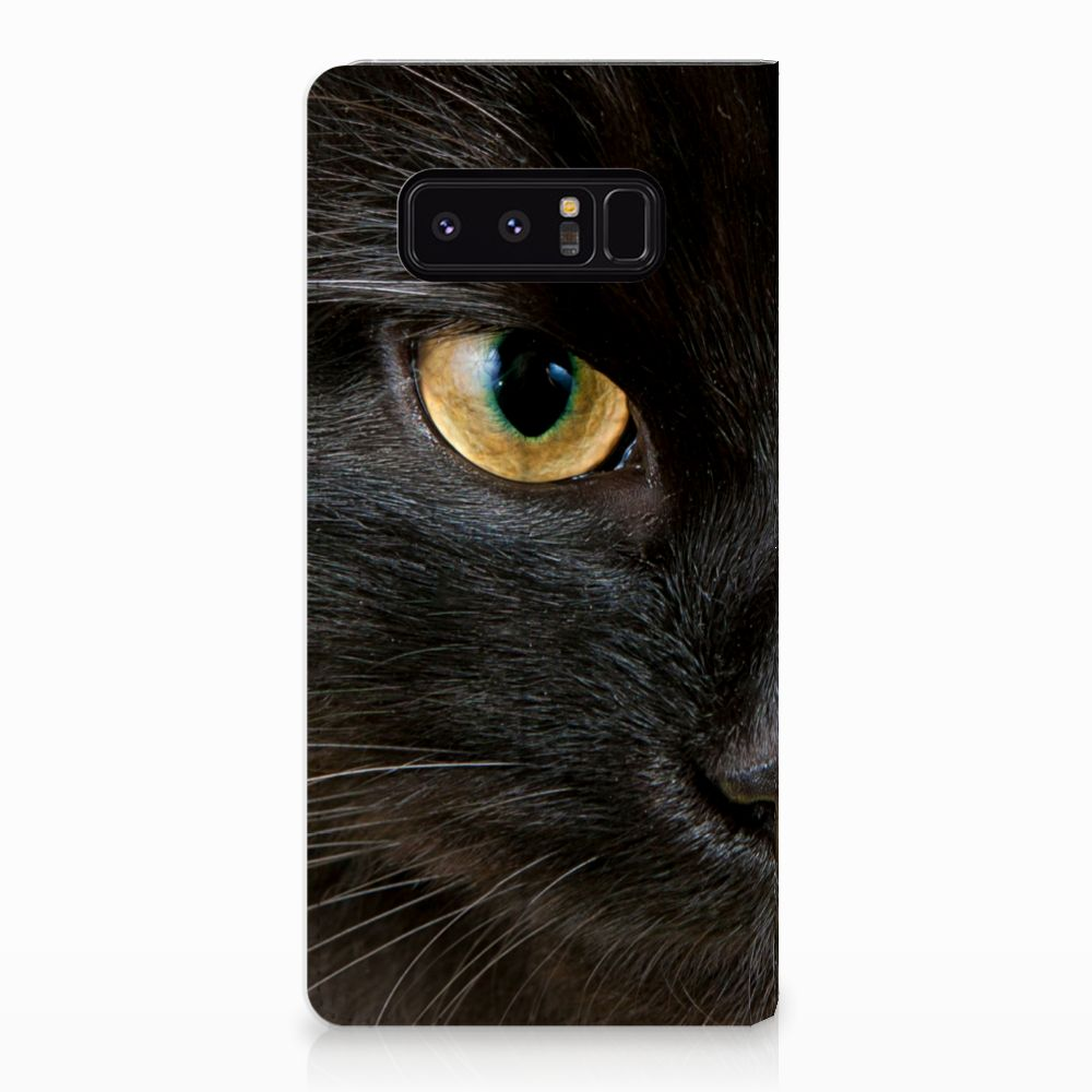 Samsung Galaxy Note 8 Uniek Standcase Hoesje Zwarte Kat