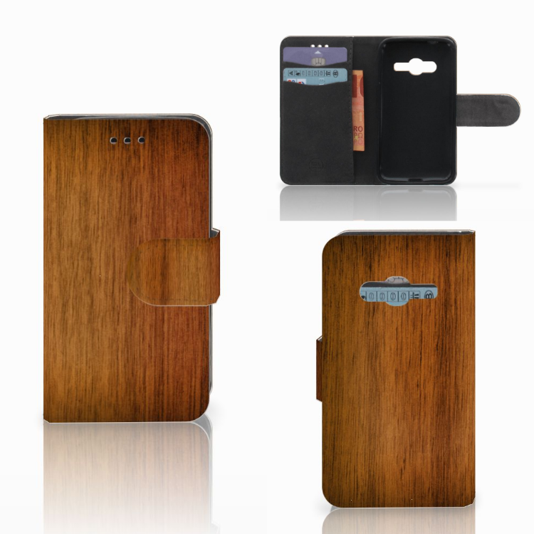 Samsung Galaxy Trend 2 Book Style Case Donker Hout