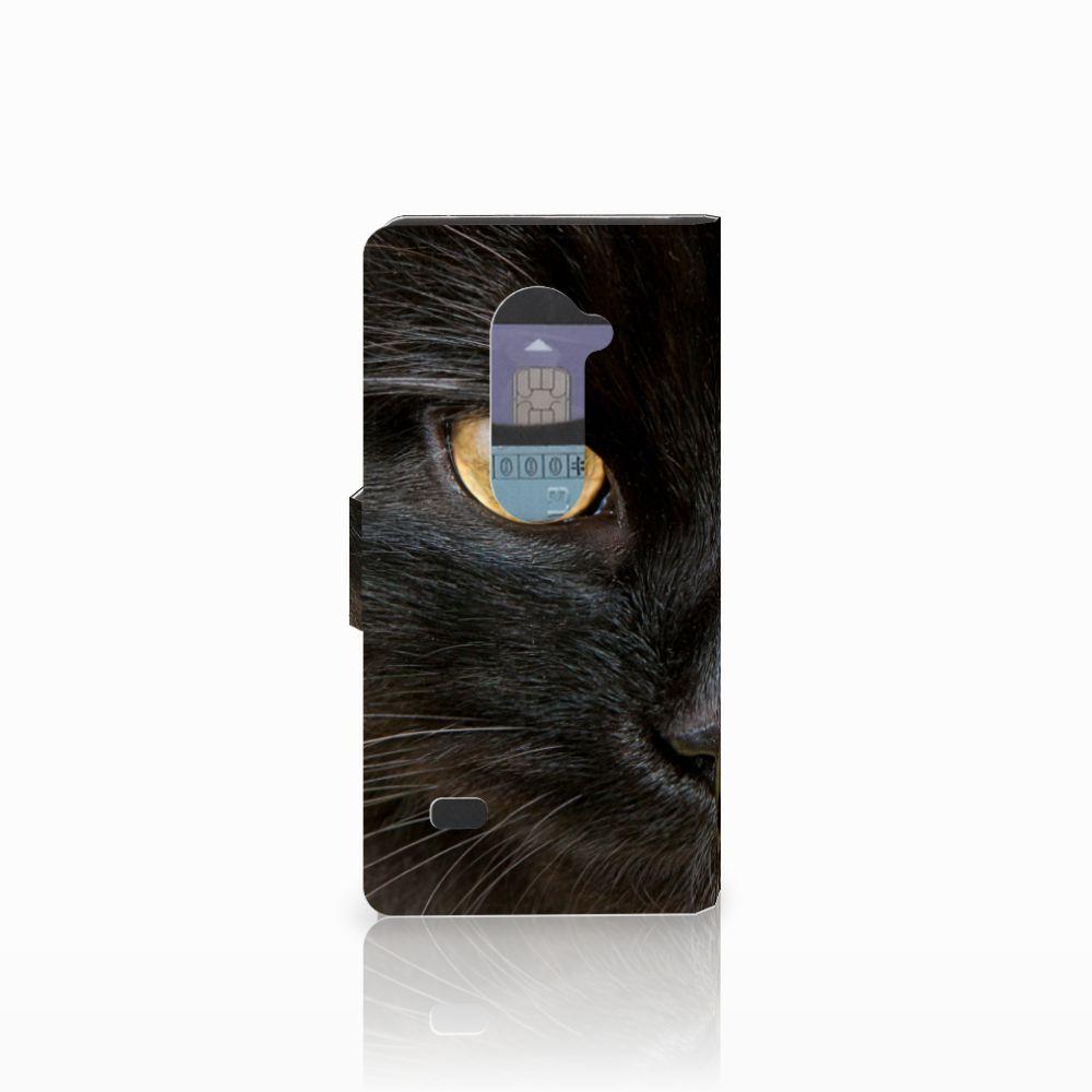 LG Leon 4G Telefoonhoesje met Pasjes Zwarte Kat