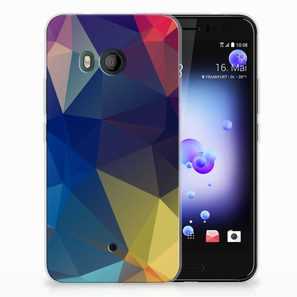 HTC U11 Uniek TPU Hoesje Polygon Dark