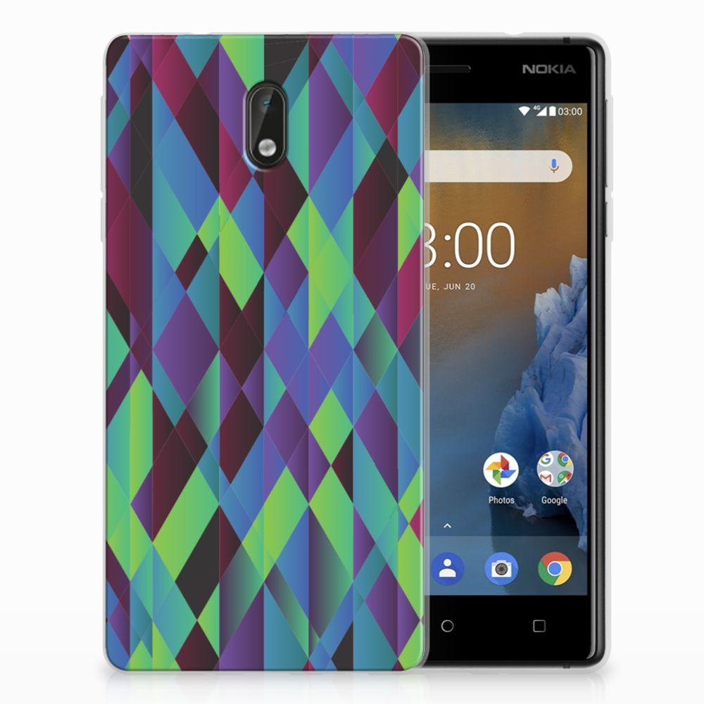 Nokia 3 TPU Hoesje Abstract Green Blue