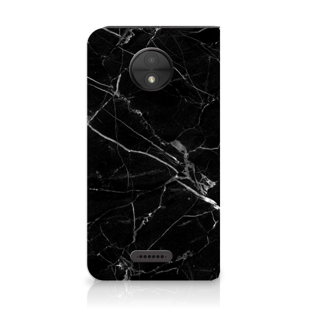 Motorola Moto C Uniek Standcase Hoesje Marmer Zwart