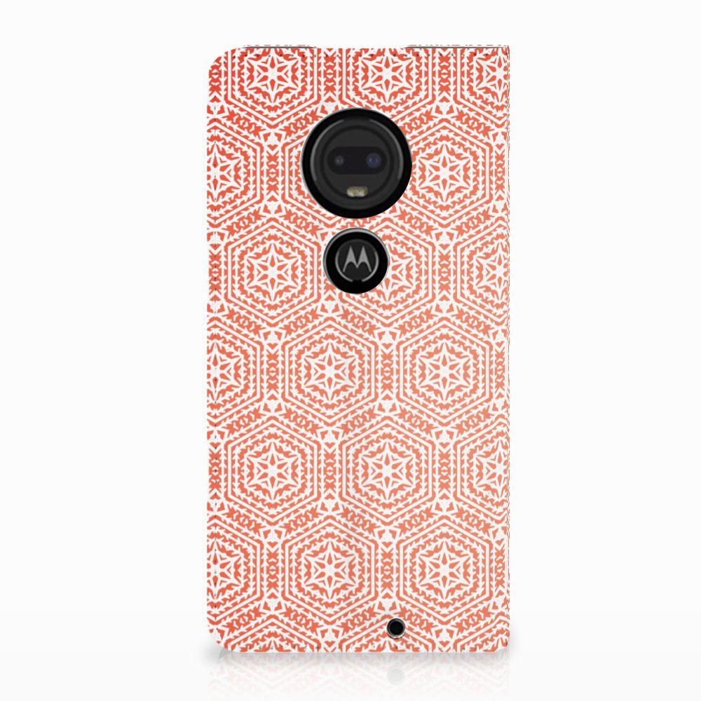 Motorola Moto G7 | G7 Plus Uniek Standcase Hoesje Pattern Orange