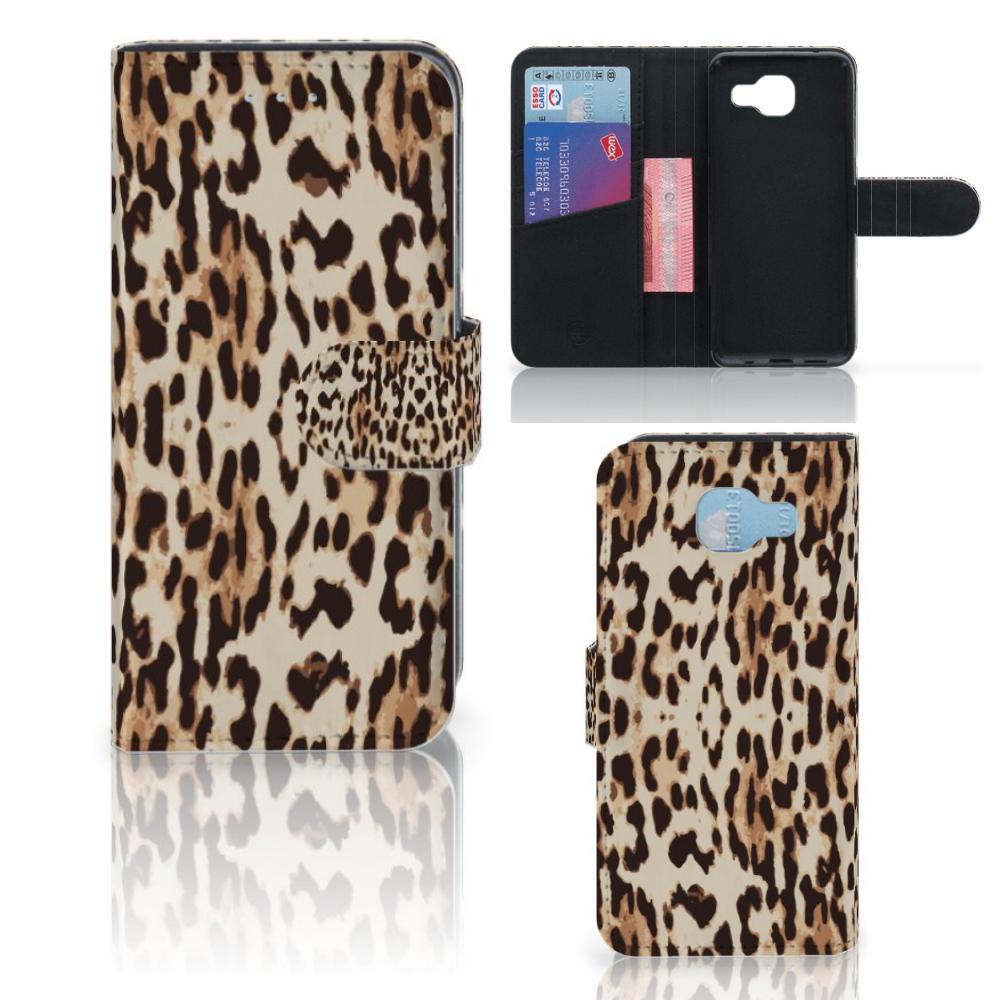 Samsung Galaxy A5 2016 Telefoonhoesje met Pasjes Leopard