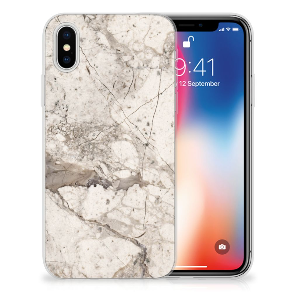 Apple iPhone X | Xs TPU Hoesje Design Marmer Beige