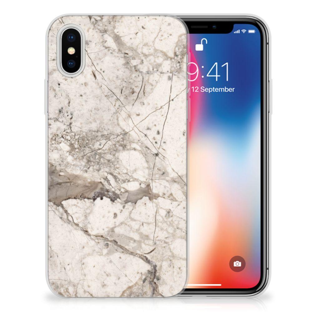 Apple iPhone X   Xs TPU Siliconen Hoesje Marmer Beige