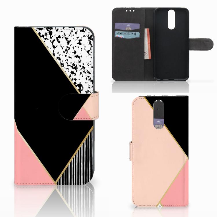 Huawei Mate 10 Lite Bookcase Zwart Roze Vormen