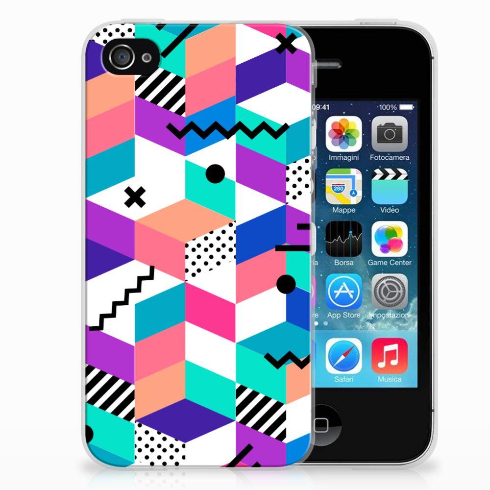 Apple iPhone 4 | 4s TPU Hoesje Blokken Kleurrijk