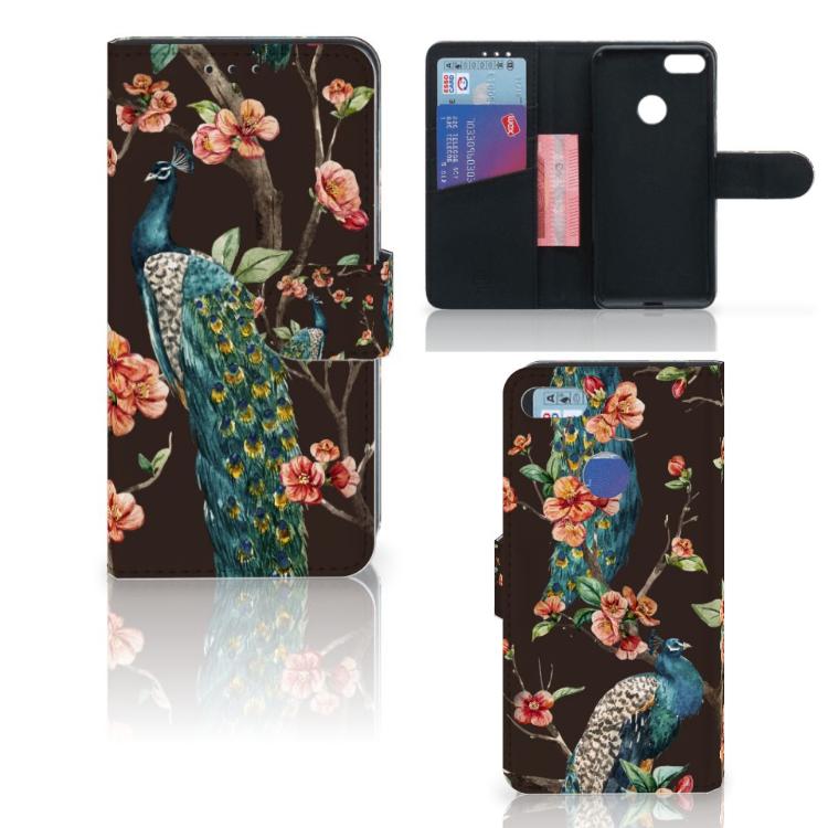Motorola Moto E6 Play Telefoonhoesje met Pasjes Pauw met Bloemen