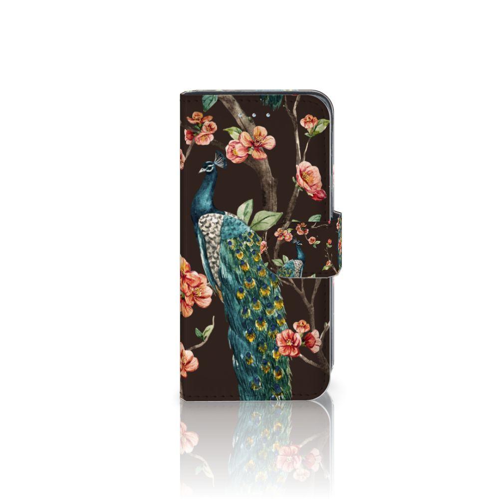 Samsung Galaxy A5 2016 Telefoonhoesje met Pasjes Pauw met Bloemen